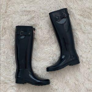 NIB hunter Original refined gloss navy rain boots